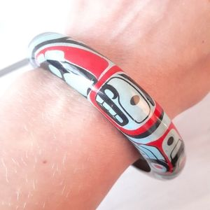 Genuine Haida Art Raven Moon Wood Bracelet
